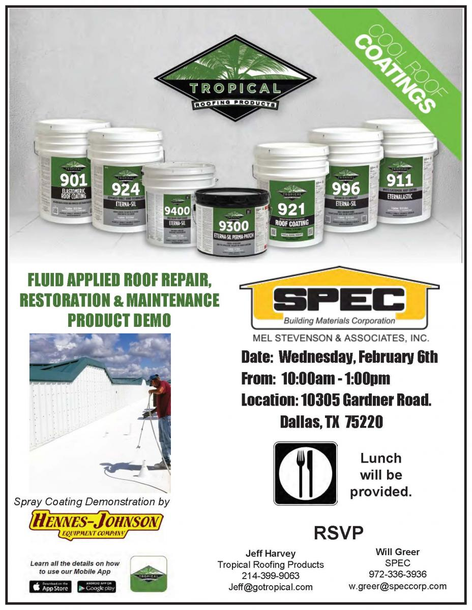Tropical Roofing Products Demo Dallas Tx Spec